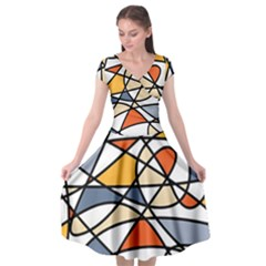 Abstract Background Abstract Cap Sleeve Wrap Front Dress