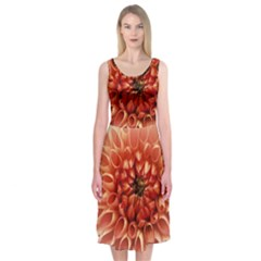 Dahlia Flower Joy Nature Luck Midi Sleeveless Dress