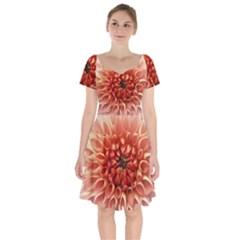 Dahlia Flower Joy Nature Luck Short Sleeve Bardot Dress
