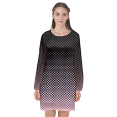 Halftone Background Pattern Black Long Sleeve Chiffon Shift Dress
