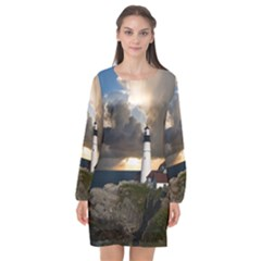 Lighthouse Beacon Light House Long Sleeve Chiffon Shift Dress
