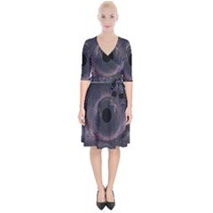 Black Hole Blue Space Galaxy Star Wrap Up Cocktail Dress