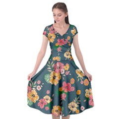 Aloha Hawaii Flower Floral Sexy Cap Sleeve Wrap Front Dress by Mariart
