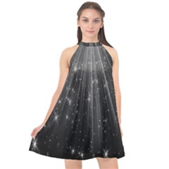 Black Rays Light Stars Space Halter Neckline Chiffon Dress