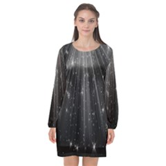 Black Rays Light Stars Space Long Sleeve Chiffon Shift Dress