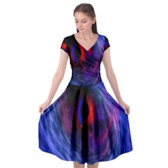 Blue Red Eye Space Hole Galaxy Cap Sleeve Wrap Front Dress by Mariart