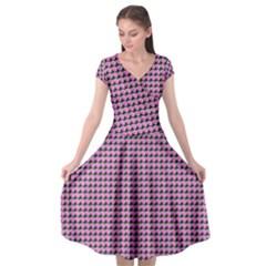 Pattern Grid Background Cap Sleeve Wrap Front Dress by Nexatart