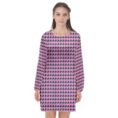 Pattern Grid Background Long Sleeve Chiffon Shift Dress