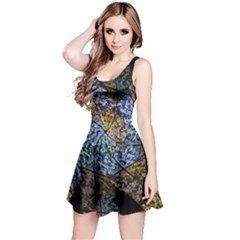Multi Color Tile Twirl Octagon Reversible Sleeveless Dress