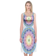 Mandala Universe Energy Om Midi Sleeveless Dress
