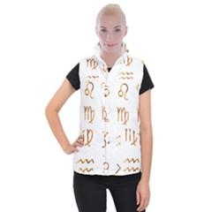 Signs Of The Zodiac Zodiac Aries Women s Button Up Puffer Vest by Nexatart