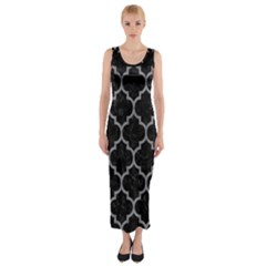 Tile1 Black Marble & Gray Colored Pencil Fitted Maxi Dress by trendistuff