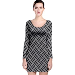 Woven2 Black Marble & Gray Colored Pencil (r) Long Sleeve Velvet Bodycon Dress by trendistuff