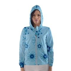 Blue Winter Snowflakes Star Hooded Wind Breaker (women) by Mariart