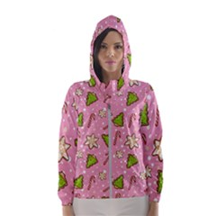 Ginger Cookies Christmas Pattern Hooded Wind Breaker (women)