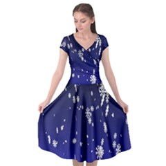Blue Sky Christmas Snowflake Cap Sleeve Wrap Front Dress by Mariart