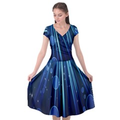 Blue Rays Light Stars Space Cap Sleeve Wrap Front Dress