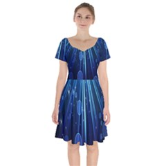 Blue Rays Light Stars Space Short Sleeve Bardot Dress by Mariart