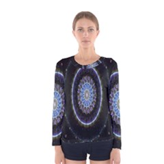Colorful Hypnotic Circular Rings Space Women s Long Sleeve Tee by Mariart