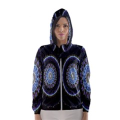 Colorful Hypnotic Circular Rings Space Hooded Wind Breaker (women)
