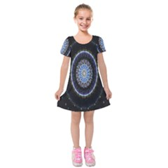 Colorful Hypnotic Circular Rings Space Kids  Short Sleeve Velvet Dress by Mariart