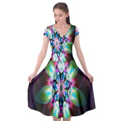 Colorful Fractal Flower Star Green Purple Cap Sleeve Wrap Front Dress