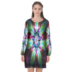 Colorful Fractal Flower Star Green Purple Long Sleeve Chiffon Shift Dress