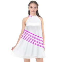 Electricty Power Pole Blue Pink Halter Neckline Chiffon Dress