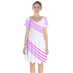Electricty Power Pole Blue Pink Short Sleeve Bardot Dress by Mariart