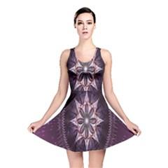 Flower Twirl Star Space Purple Reversible Skater Dress by Mariart