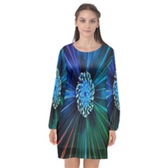 Flower Stigma Colorful Rainbow Animation Space Long Sleeve Chiffon Shift Dress  by Mariart