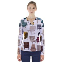 Furnitur Chair V Neck Long Sleeve Top by Mariart