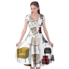 Furnitur Chair Cap Sleeve Wrap Front Dress