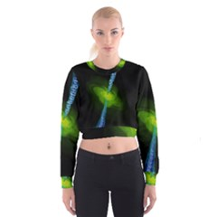 Gas Yellow Falling Into Black Hole Cropped Sweatshirt by Mariart