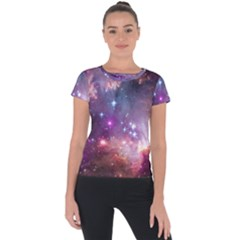 Galaxy Space Star Light Purple Short Sleeve Sports Top  by Mariart