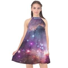 Galaxy Space Star Light Purple Halter Neckline Chiffon Dress  by Mariart