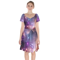 Galaxy Space Star Light Purple Short Sleeve Bardot Dress