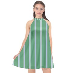 Green Line Vertical Halter Neckline Chiffon Dress  by Mariart