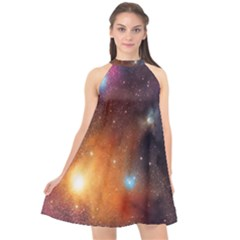 Galaxy Space Star Light Halter Neckline Chiffon Dress  by Mariart