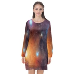Galaxy Space Star Light Long Sleeve Chiffon Shift Dress  by Mariart