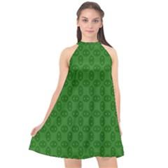Green Seed Polka Halter Neckline Chiffon Dress