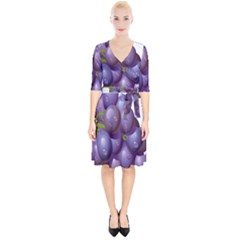 Grape Fruit Wrap Up Cocktail Dress by Mariart
