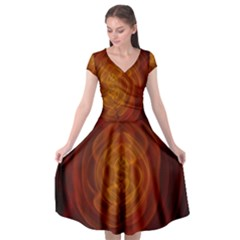 High Res Nostars Orange Gold Cap Sleeve Wrap Front Dress by Mariart