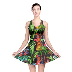 Hawaiian Girls Black Flower Floral Summer Reversible Skater Dress