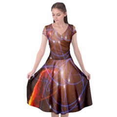 Highest Resolution Version Space Net Cap Sleeve Wrap Front Dress by Mariart