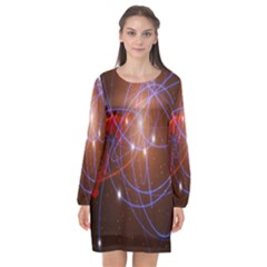 Highest Resolution Version Space Net Long Sleeve Chiffon Shift Dress  by Mariart