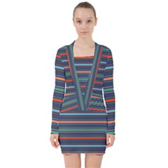 Horizontal Line Blue Green V Neck Bodycon Long Sleeve Dress by Mariart