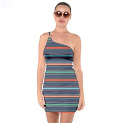 Horizontal Line Blue Green One Soulder Bodycon Dress by Mariart