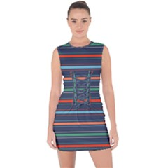 Horizontal Line Blue Green Lace Up Front Bodycon Dress by Mariart
