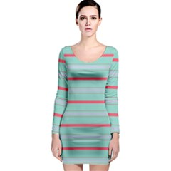Horizontal Line Blue Red Long Sleeve Bodycon Dress by Mariart